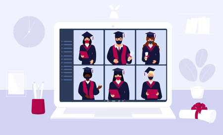 A group of multiethnic graduates in gowns and mortarboards celebrate graduation during  virus quarantine. Virtual online ceremony on a laptop monitor. Diverse students wearing protective masks.