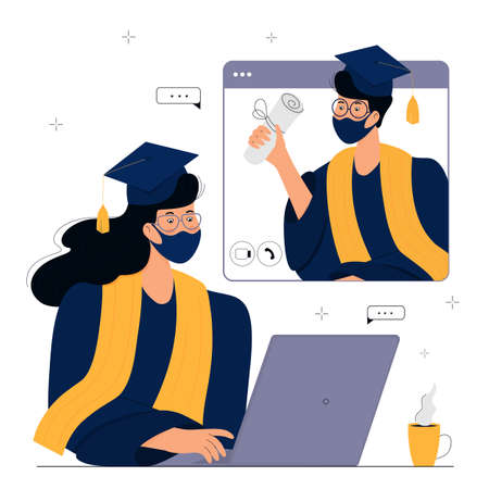 A Virtual Graduation Ceremony for Online Distance Students. Graduates in protective masks celebrate during virus quarantine. A girl in gown and mortarboard sits in front of a computer monitor Иллюстрация