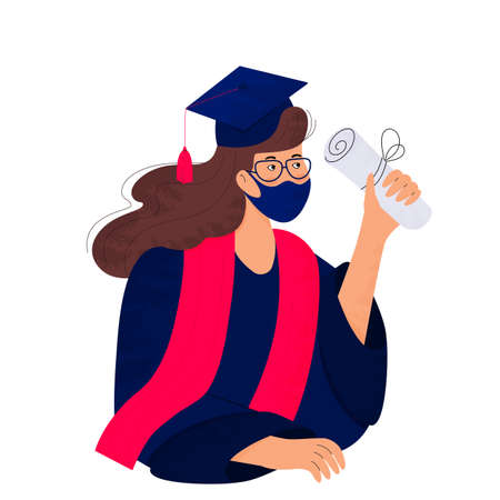 A girl student in a protective mask holds a diploma in her hand. Graduate in gown and mortarboard celebrates graduation during virus quarantine