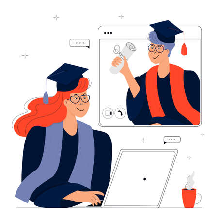 A Virtual Graduation Ceremony. Graduates celebrate during coronavirus quarantine. A girl in gown and mortarboard sits in front of a laptop. Student holds a diploma in his hand. Иллюстрация
