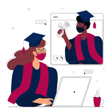 A Virtual Graduation Ceremony for Online Distance Students. Graduates in protective masks celebrate during  quarantine. A girl in gown and mortarboard sits in front of a computer monitor