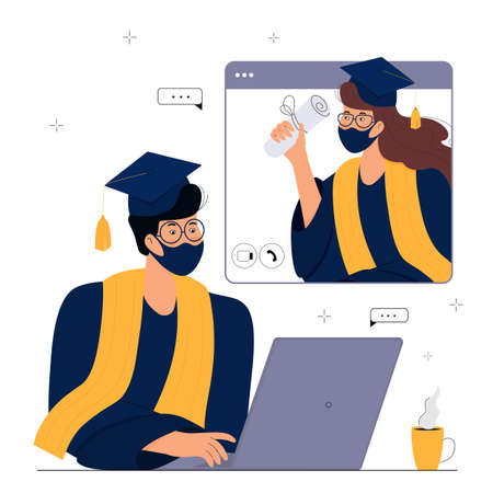A Virtual Graduation Ceremony for Online Distance Students. Graduates in protective masks celebrate during  quarantine. A guy in gown and mortarboard sits in front of a computer monitor. Иллюстрация