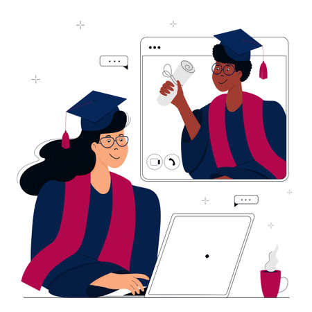 A Virtual Graduation Ceremony. Graduates celebrate during  quarantine. A girl in gown and mortarboard sits in front of a laptop. African American student holds a diploma in his hand.