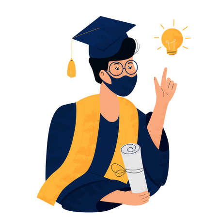 A student in a protective mask holds a diploma in her hand. Graduate in gown and mortarboard celebrates graduation during  quarantine  . Class of 2021. Great idea concept. Иллюстрация