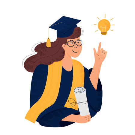 A girl student in gown and mortarboard holds a diploma in her hand. Graduate. Class of 2021. Great idea concept