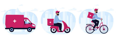 Delivery of medicine to home. Man courier in protective mask delivers medications by car, motorcycle, bicycle.