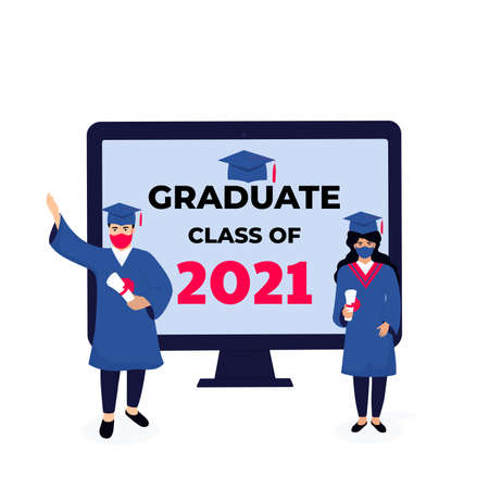 Virtual online graduation ceremony on a computer monitor during coronavirus quarantine.