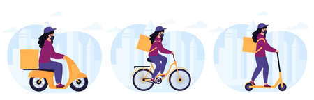 Woman courier in a protective mask delivers parcel by electric scooter, by motorcycle, by bike Иллюстрация