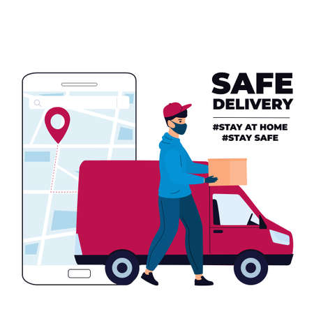 Delivery man in a protective mask delivers parcel by car. Track shipments using the mobile application.