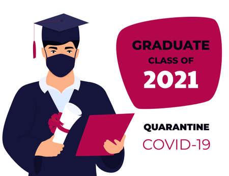 Graduation virtual ceremony during coronavirus quarantine. Class of 2021.