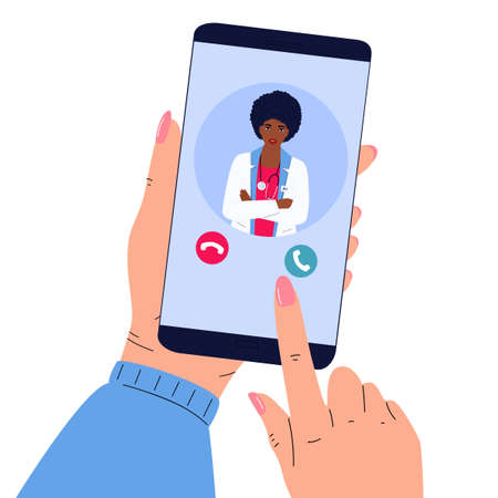 The patient makes a video call to the doctor online.