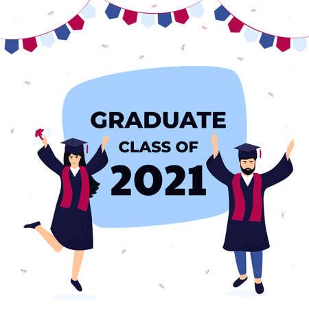Graduation ceremony. Class of 2021. Greeting banner. Graduates celebrate completion of studies. Иллюстрация