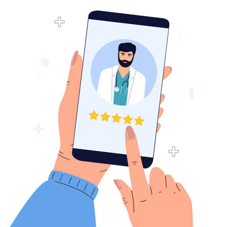 A satisfied patient leaves a good review to the doctor using the mobile application.