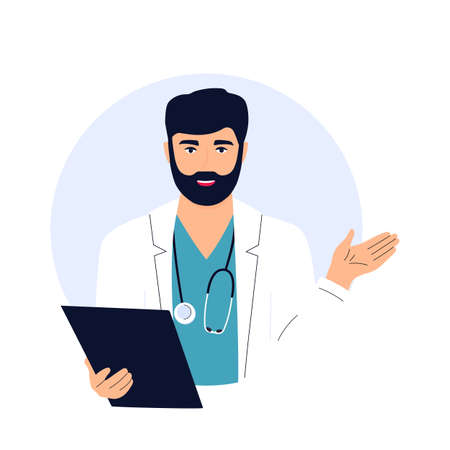 Doctor with a stethoscope and in a white coat is holding clipboard. Иллюстрация