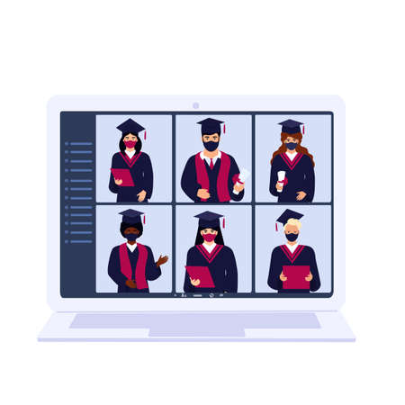 Virtual online ceremony on a laptop monitor.