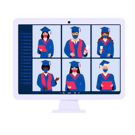 Virtual online ceremony on a computer monitor. Diverse students wearing protective masks