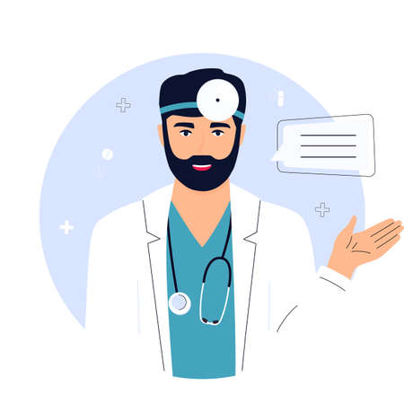 Doctor with a stethoscope and in a white coat is holding clipboard. Telemedicine concept.