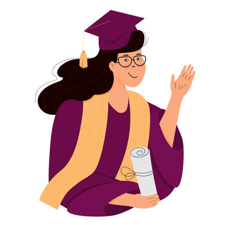 A girl student in graduation gown and mortarboard holds a diploma in her hand. Иллюстрация