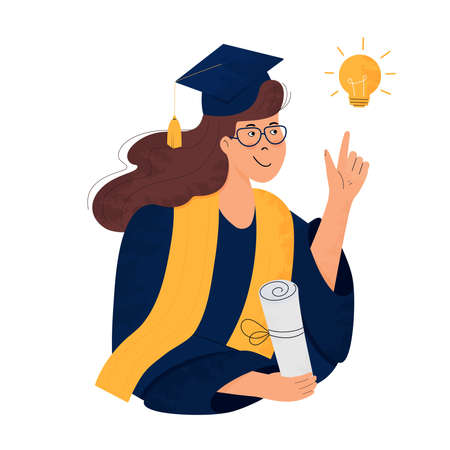 A girl student in graduation gown and mortarboard holds a diploma in her hand. Graduate. Class of 2021. Great idea concept Illustration