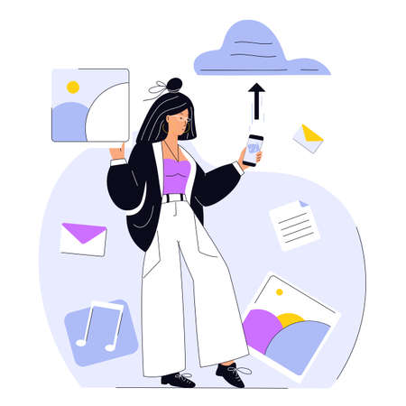 Young girl uploads music and images to cloud service. Woman saving documents in digital storage