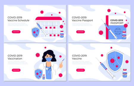 COVID-19 Vaccination. Vaccine schedule. Coronavirus immune pass. Immunization plan. Doctor holding protective shield and syringe to protect from virus. Landing page