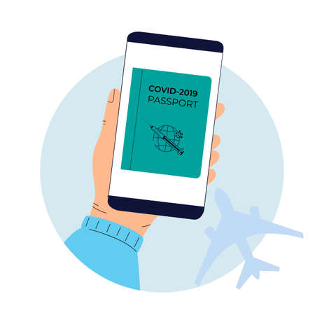 Digital vaccination passport to pass control in the airport. Covid-19 Pandemic vaccination proof