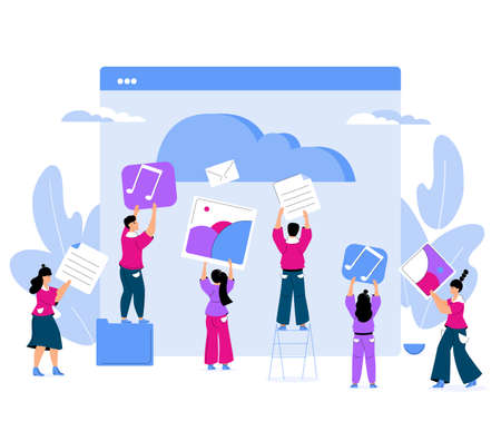 Tiny people upload music and images to cloud service. Women and men are saving documents in digital storage. Trendy vector characters.