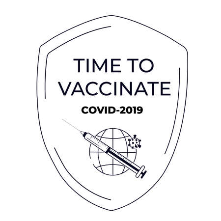 Vaccination banner. Time to vaccinate. Syringe with vaccine for COVID-19. Immunization campaign concept. The shield protects against the coronavirus.