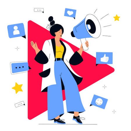 Video blogger announces new content release for subscribers on her online channel. A girl holding a loudspeaker. Social media marketing concept. Influencer girl attracts followers. Internet vlog