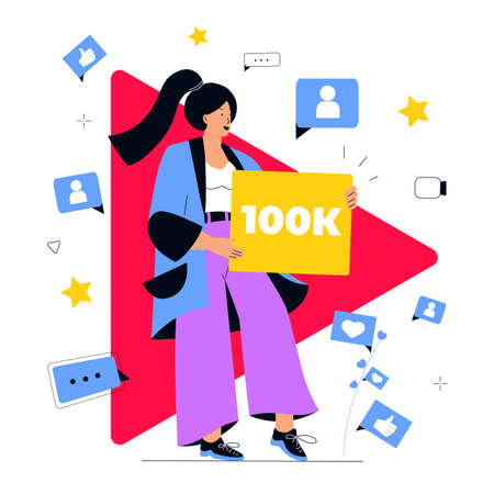 Successful video blogger enjoys the large number of subscribers on her online channel. Social media marketing concept. Influencer girl attracts followers. Internet vlog Illustration