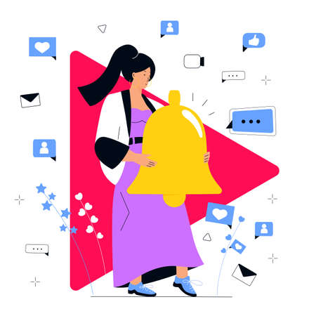Blogger calls to click a bell as a notification about the release of new video on her online channel. Social media marketing concept. Influencer girl attracts followers. Internet vlog. Illustration