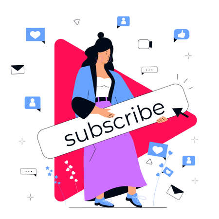 Successful video blogger calls to subscribe to her online channel. Social media marketing concept. Influencer girl attracts followers. Internet vlog Illustration