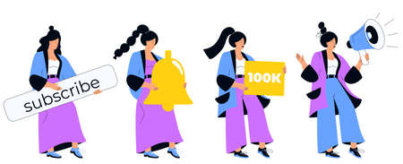 Video blogger calls to subscribe to online channel. A girl holds a loudspeaker, a bell, a button. Social media marketing. Influencer girl attracts followers. Internet vlog. Set of vector character. Illustration