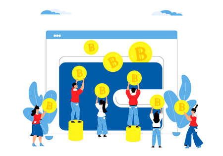 Cryptocoin Wallet. Tiny business people fill online purse with bitcoins cryptocurrency. Money Savings Concept. Moneybox Illustration