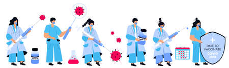 Set of doctors and nurses with vaccine for virus  . Vaccination campaign. Time to vaccinate. Illustration