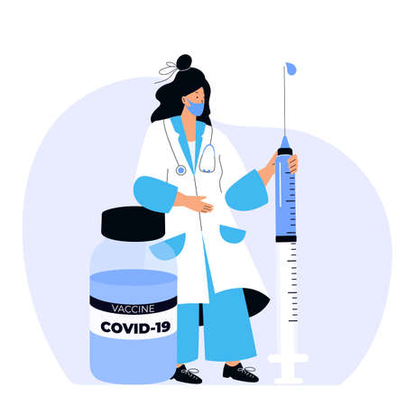 Female doctor holds huge syringe with coronavirus vaccine COVID-19. Vaccination campaign. Time to vaccinate.