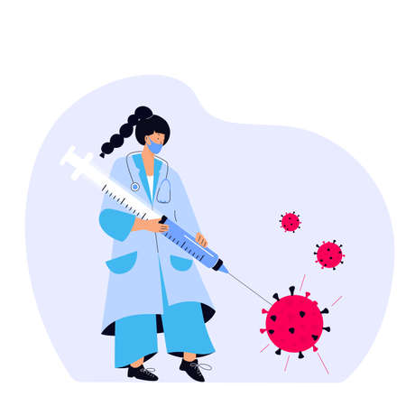 A female doctor pierced the virus with a huge syringe with a  virus vaccine. Vaccination campaign. Time to vaccinate.