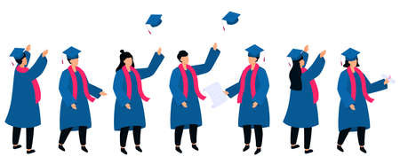 Set of isometric students in graduation gowns and mortarboards hold diploma. Class of 2021