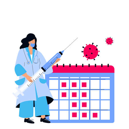 Female doctor holds huge syringe with  virus . Vaccination schedule. Immunization plan. Time to vaccinate.