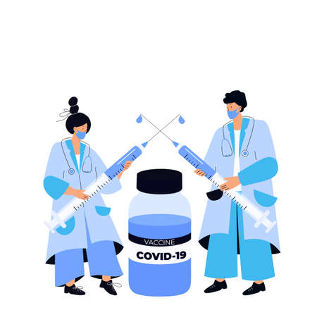 Doctors hold huge syringes with coronavirus vaccine COVID-19. Vaccination campaign. Time to vaccinate. Illustration