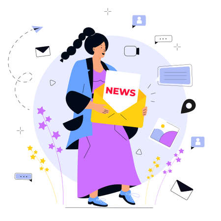 Newsletter. E-mail marketing concept. A young girl holds huge messages. Advertising media, target consumers, invite people, notifications, offers.
