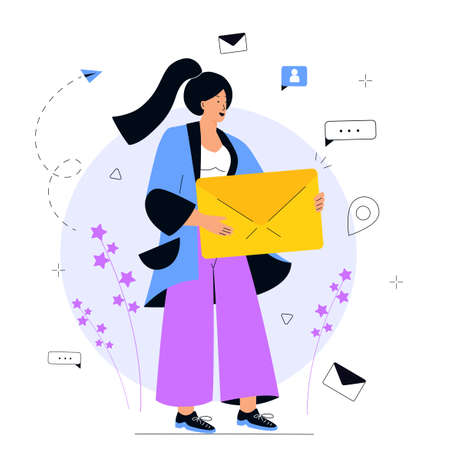 Girl holds huge envelope. E-mail marketing concept. Advertising media, target consumers, invite people, notifications, offers. Illustration