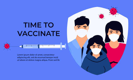 Family Vaccination banner. Time to vaccinate. Illustration