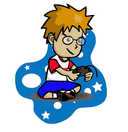playing video game: The Boy is playing with a game console