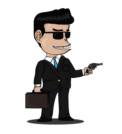 A mafia in black with Sunglasses bringing a suitcase and a gun