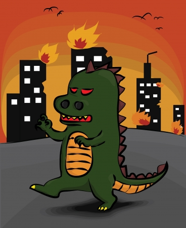 A Monster attack the city and make it burned Illustration