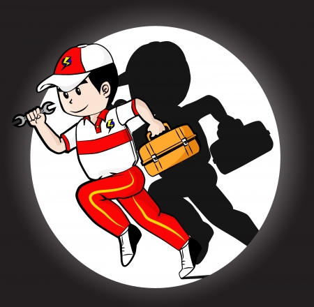 Repairmen is ready to serve customers  Illustration