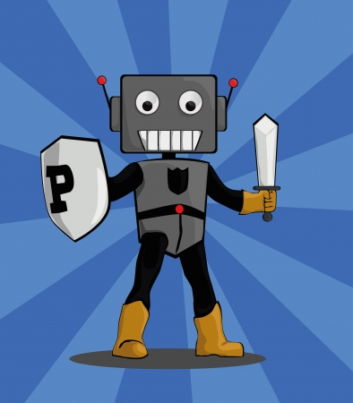 securing: Robot protector carrying a shield to protect and a sword to eradicate threats Illustration