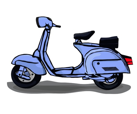 Classic blue scooter, very beautiful, unique and elegant