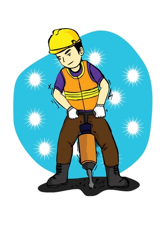 a man who worked in the construction field by using safety equipment